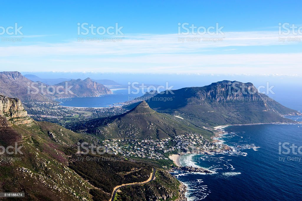 Aerial landscape of the Cape peninsula stock photo