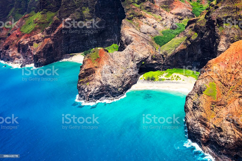 Aerial landscape view of Honopu Arch at Na Pali coastline stock photo