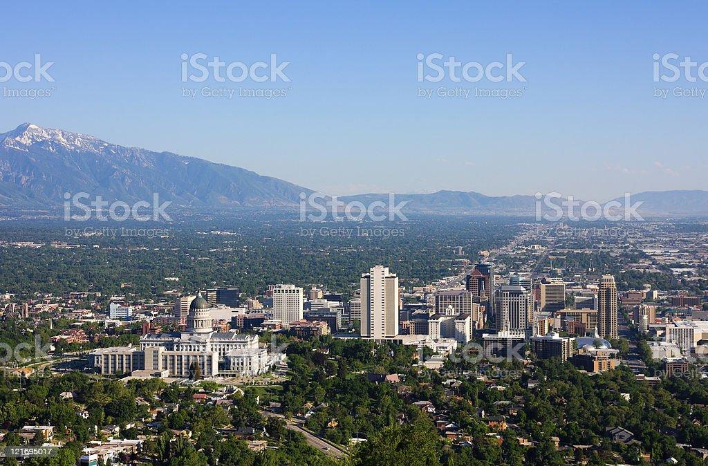 Aerial landscape view of Salt Lake City, Utah and environs stock photo