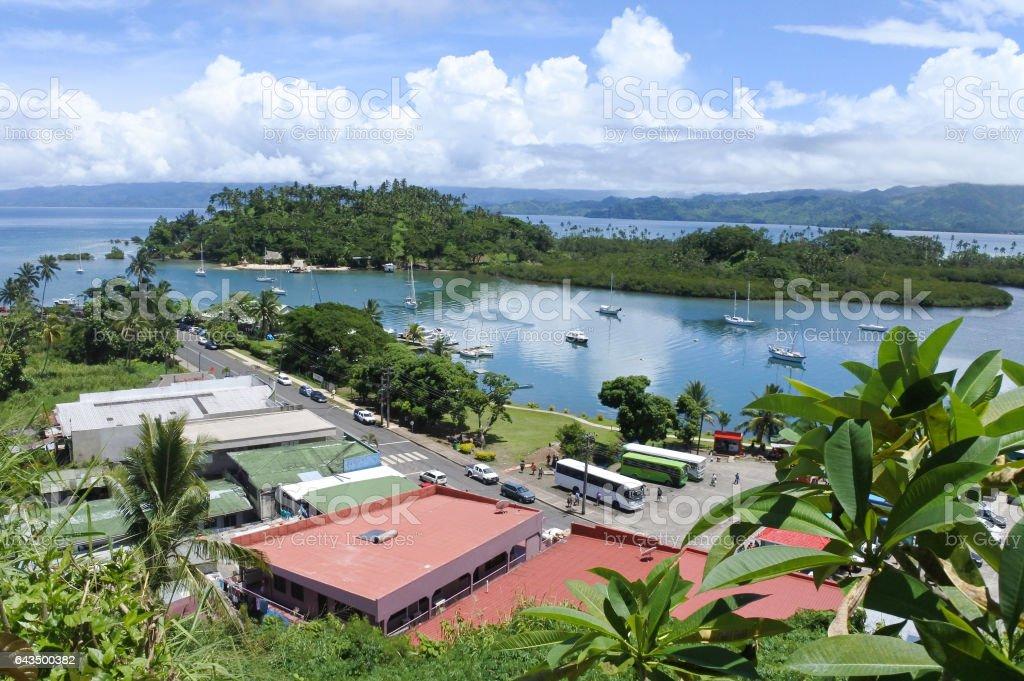 Aerial landscape view of Savusavu Vanua Levu Fiji stock photo