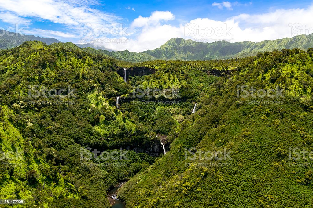 Aerial landscape view of waterfalls and streams, Kauai stock photo