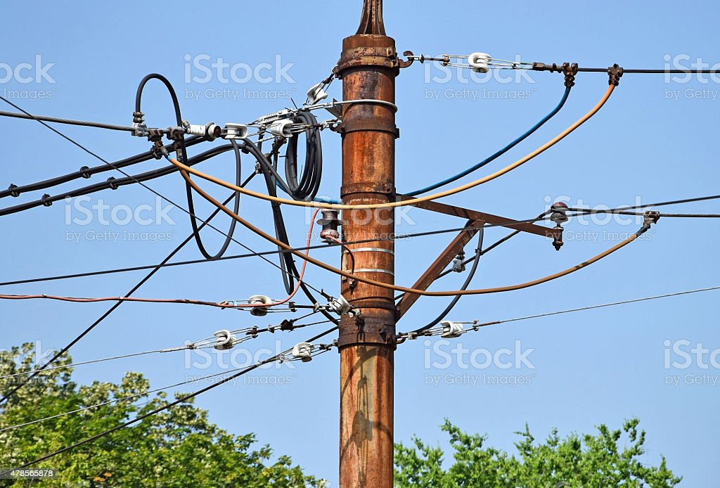 Aerial lead cables stock photo