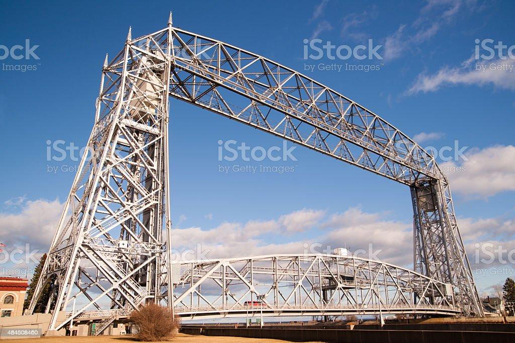 Aerial Lift Bridge Duluth Harbor Lake Superior Minnesota Wiscons stock photo