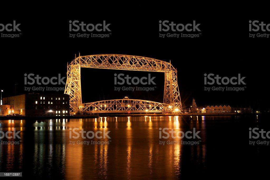 Aerial lift bridge stock photo