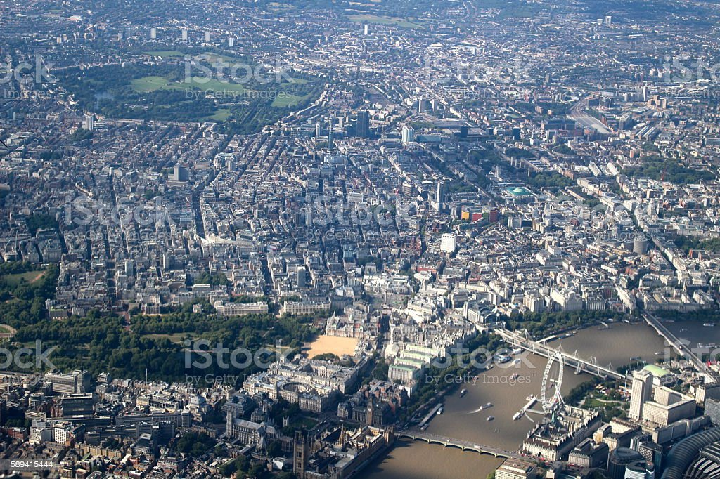 Aerial London Eye and Thames stock photo