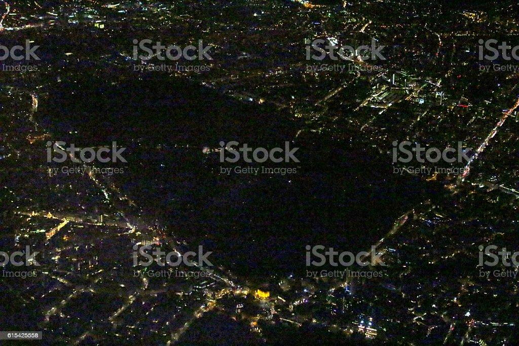 Aerial London Night Hyde Park stock photo