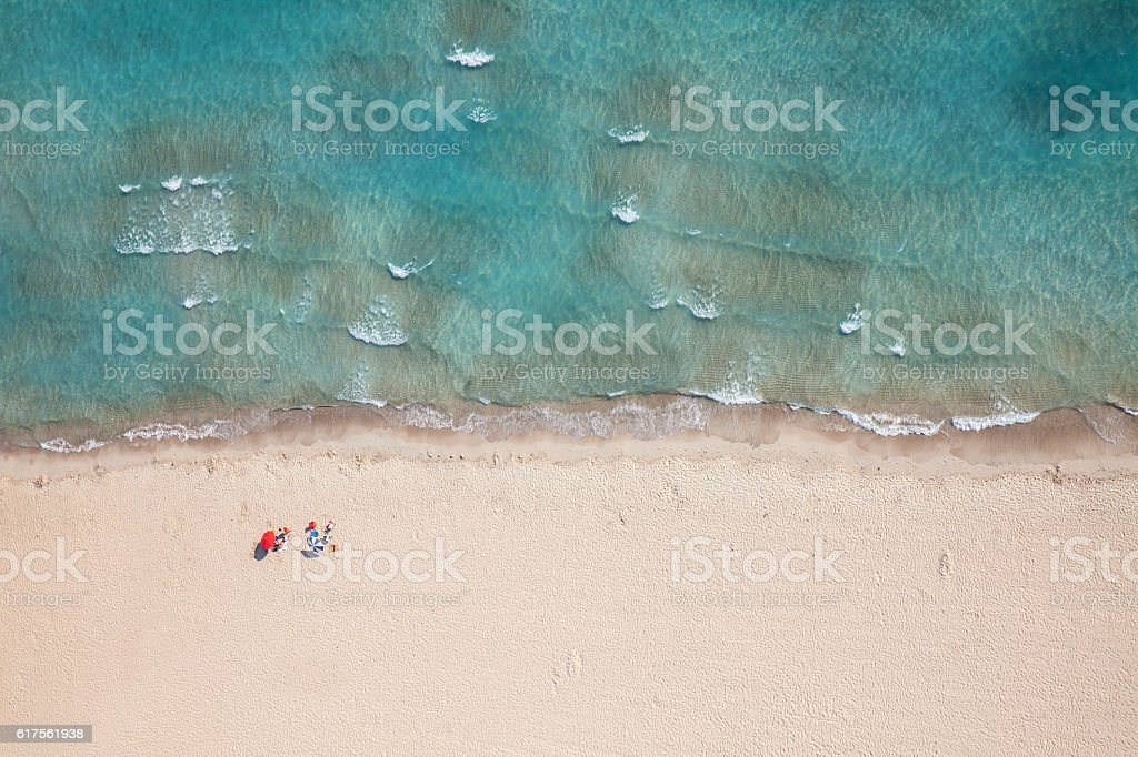 aerial look of a beach stock photo
