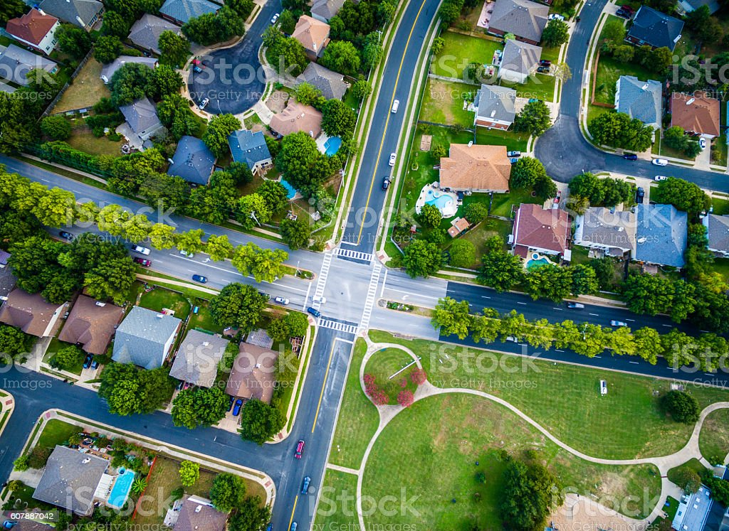 Aerial Looking straight down Suburban Intersection stock photo