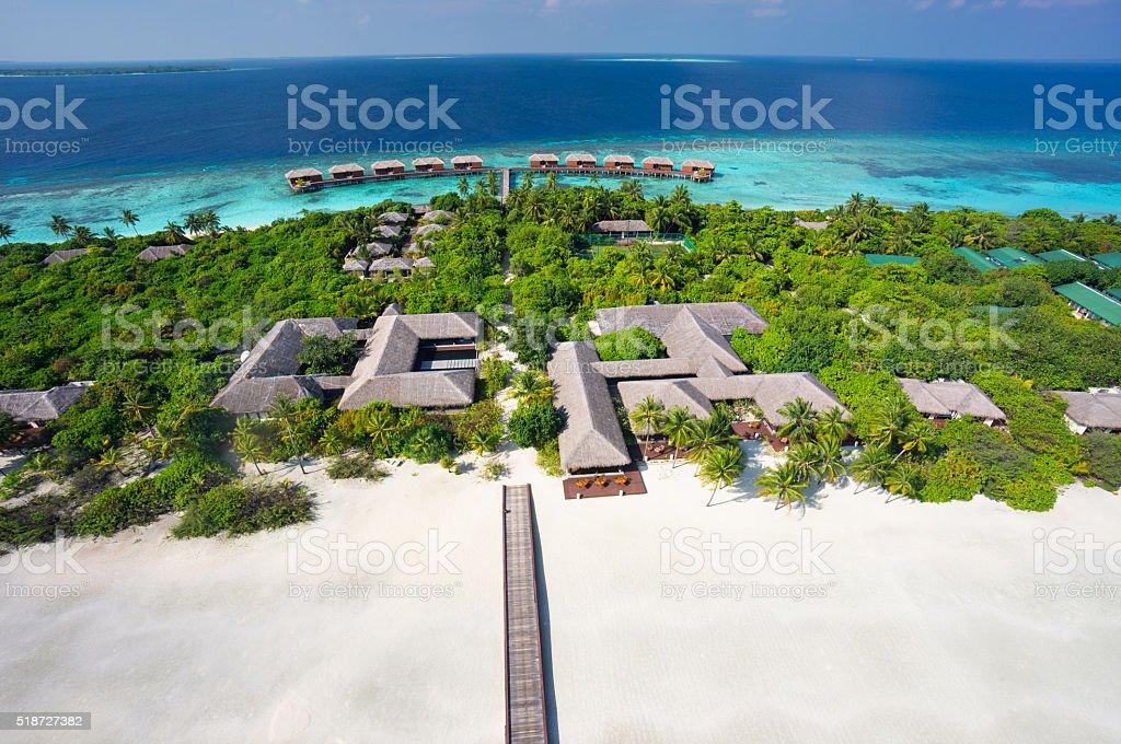 aerial luxury island resort stock photo