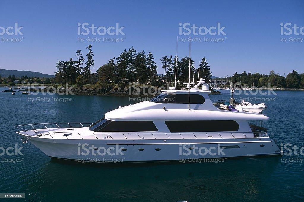 aerial luxury motor yacht ship boat victoria royalty-free stock photo