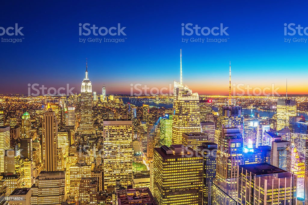 Aerial Manhattan New York Cityscape Night royalty-free stock photo