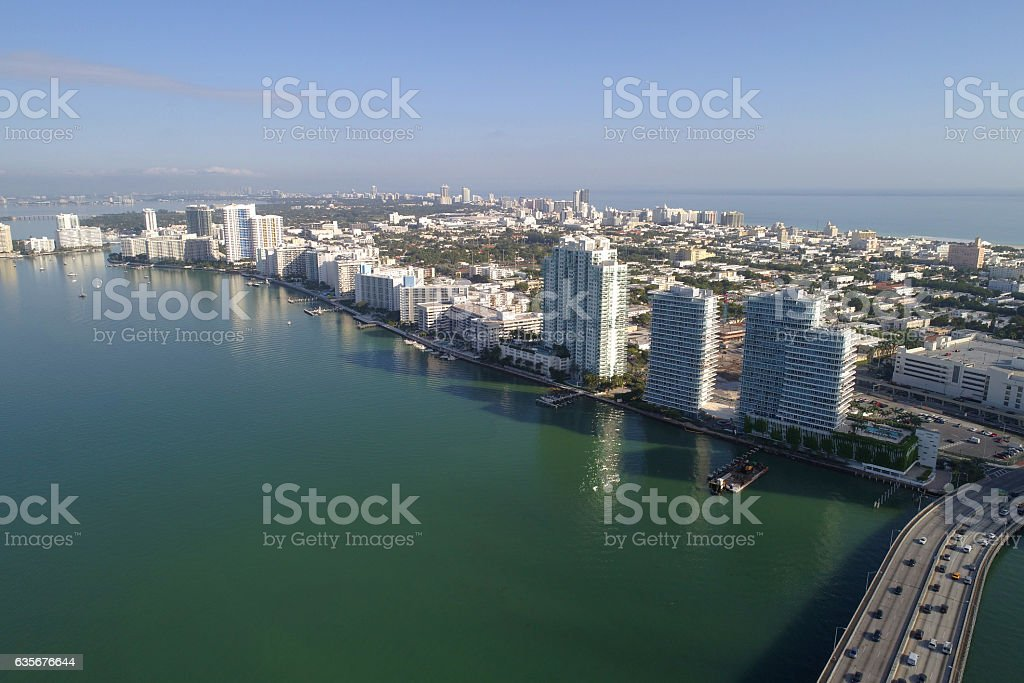 Aerial Miami Beach buildings on Biscayne Bay stock photo