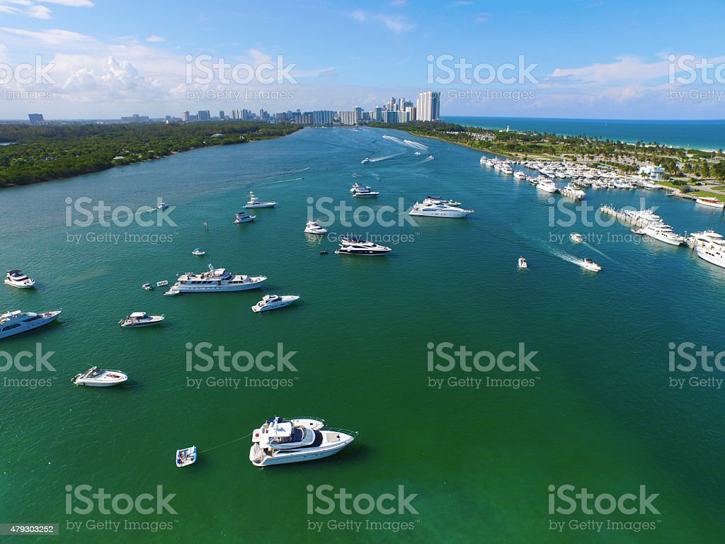Aerial Miami intracoastal yachts on the weekend stock photo