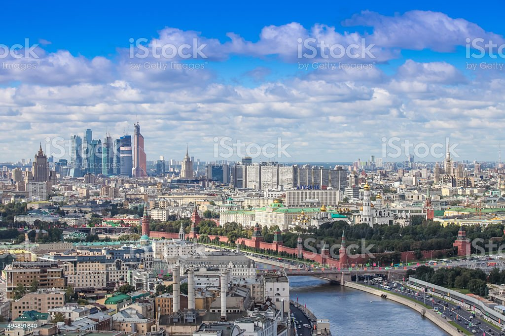 Aerial Moscow city center heart panorama stock photo