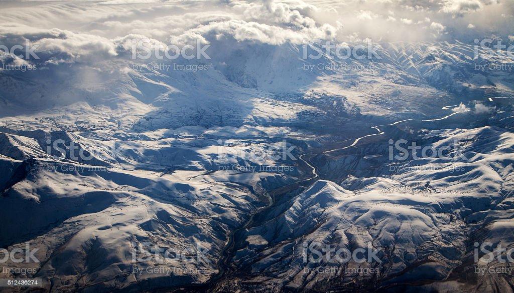 Aerial Mountains View stock photo