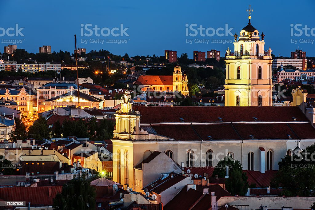 Aerial night panorama of Old Town in Vilnius stock photo