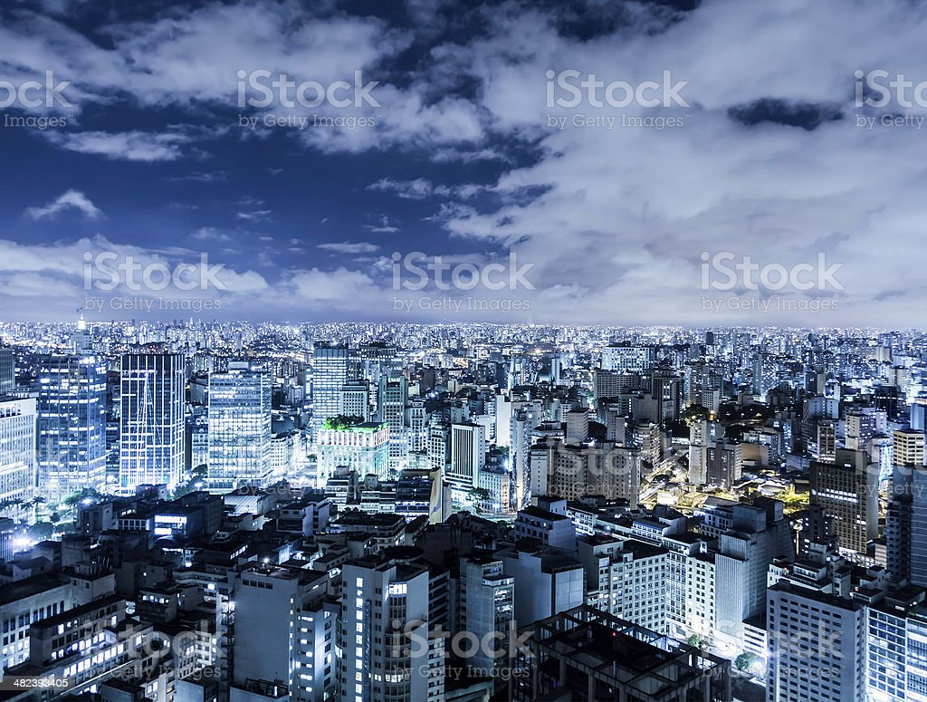 Aerial night shot of Sao Paulo, Brazil stock photo