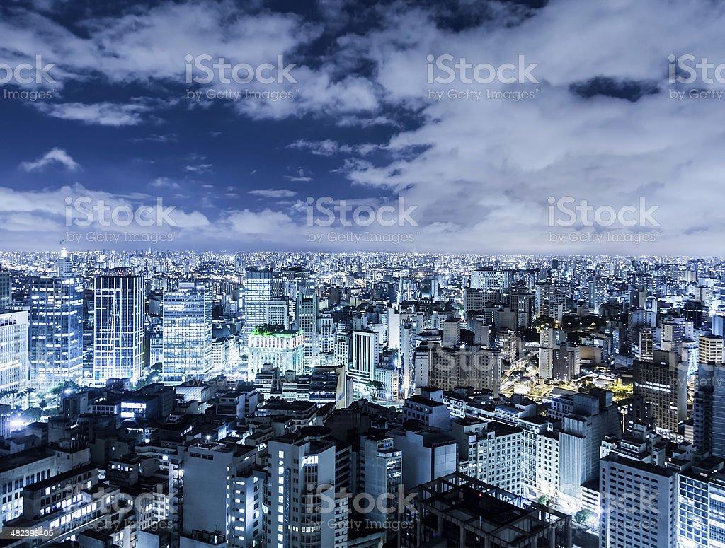 Aerial night shot of Sao Paulo, Brazil stock photo