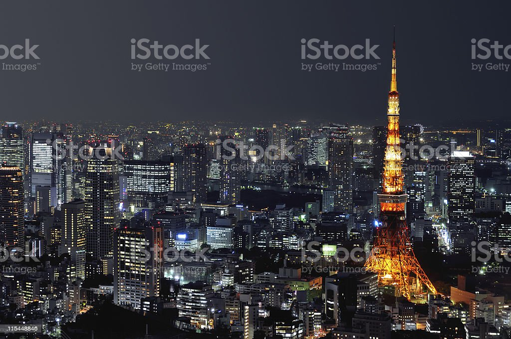 Aerial night shot of Tokyo cityscape stock photo