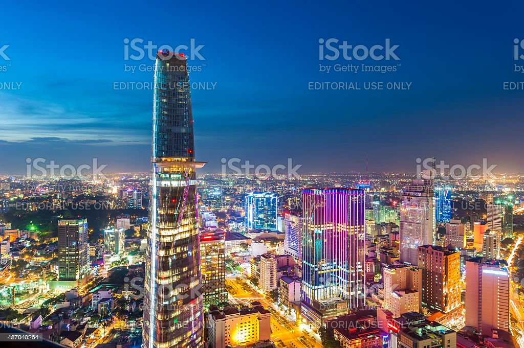 Aerial night view of colorful Saigon downtown stock photo