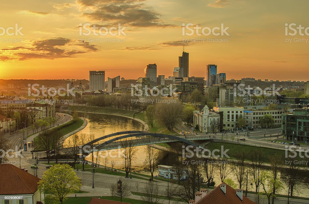 Aerial night view of Vilnius (Lithuania) stock photo