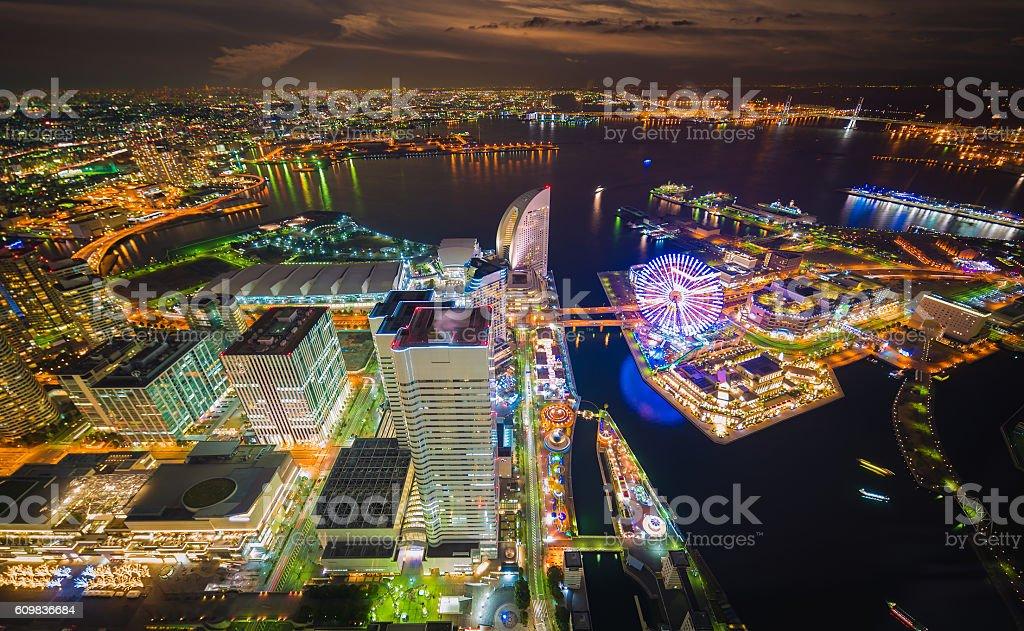 Aerial night view of Yokohama Cityscape stock photo