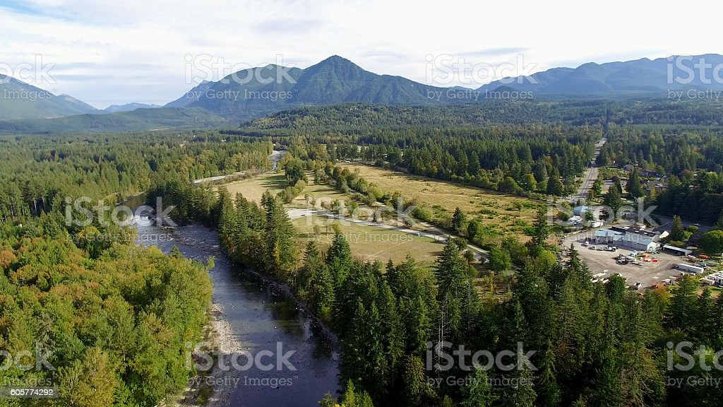 Aerial North Bend, Washington Preacher Mountain and Snoqualmie River View stock photo