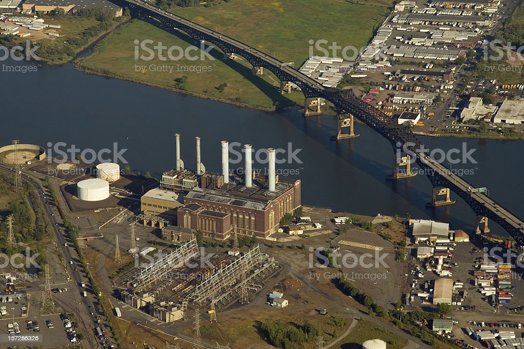 Aerial of a power plant royalty-free stock photo