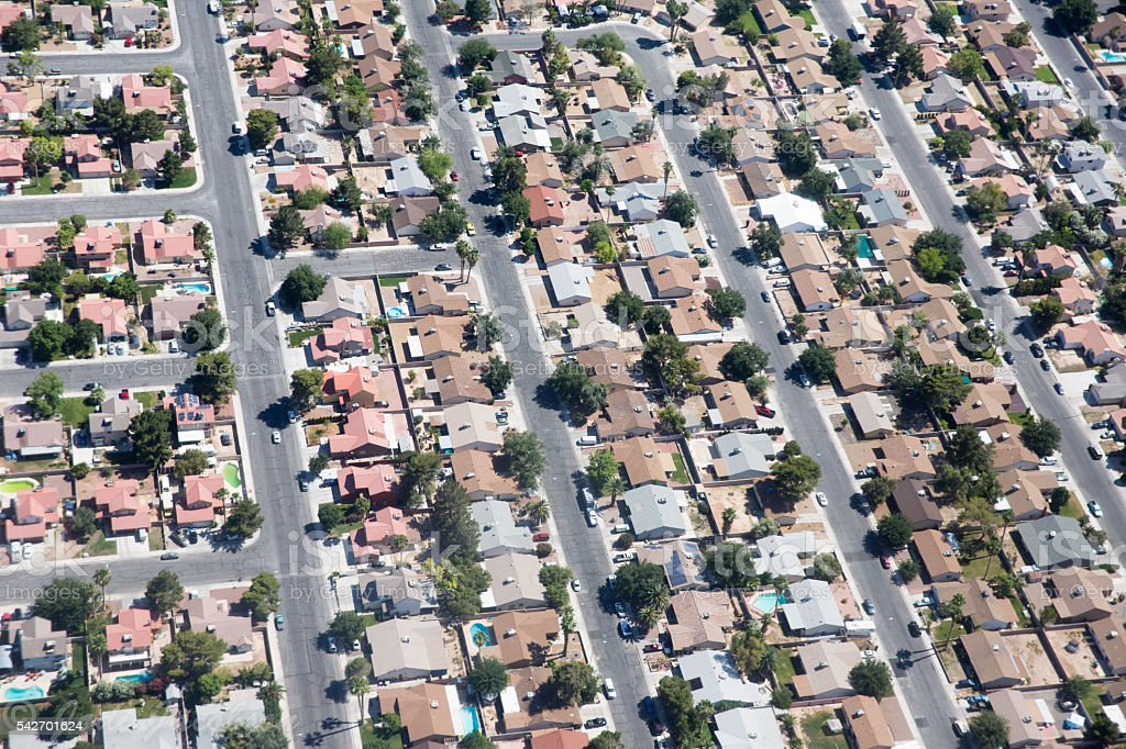 aerial of a residential neighborhood stock photo