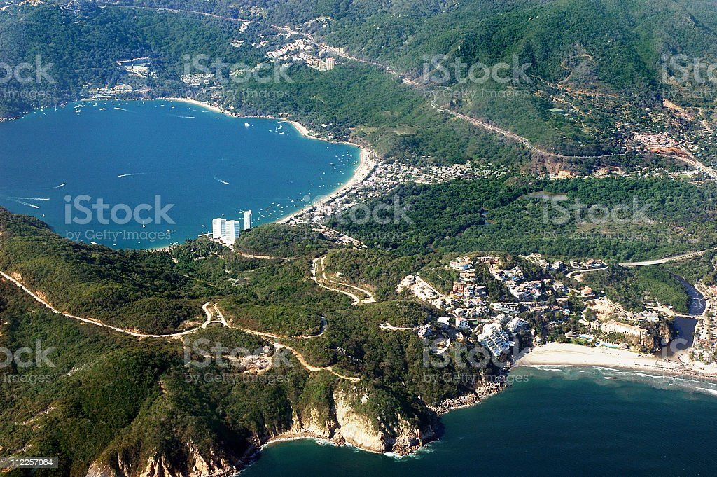 Aerial  of Acapulco Bay Mexico from Both Sides stock photo