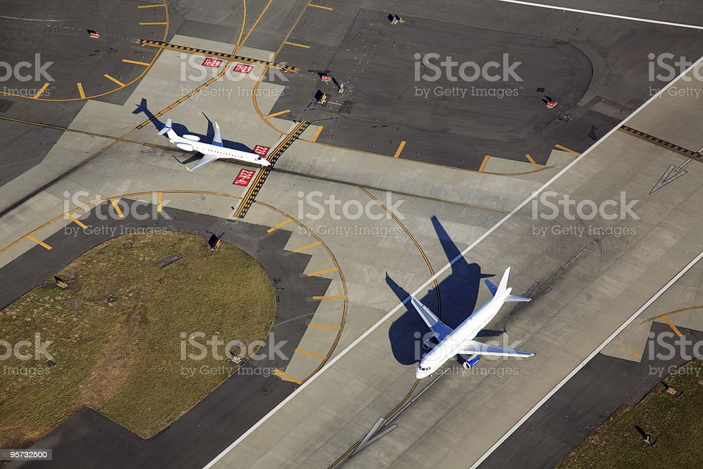 Aerial of Airport Runway royalty-free stock photo