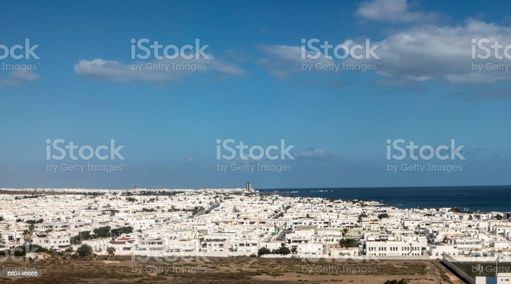 aerial of Arrecife stock photo