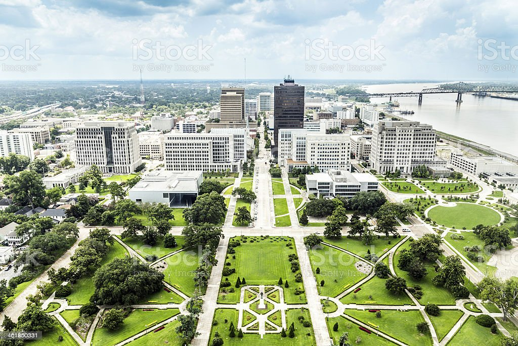 aerial of baton Rouge with  Huey Long statue and  skyline stock photo