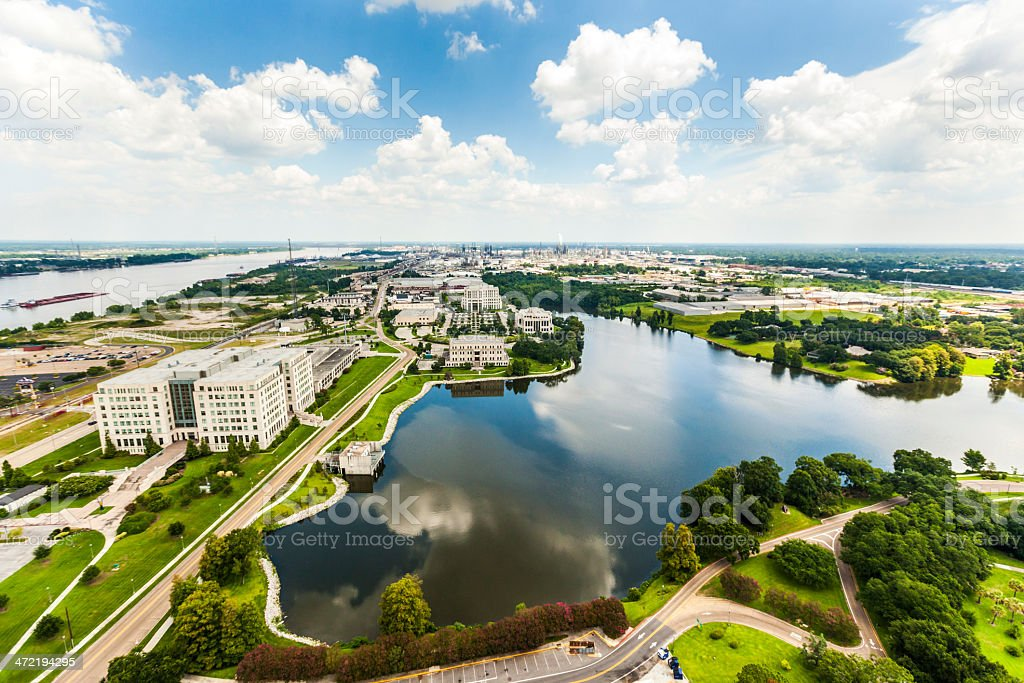 aerial of baton Rouge with Missisippi river stock photo