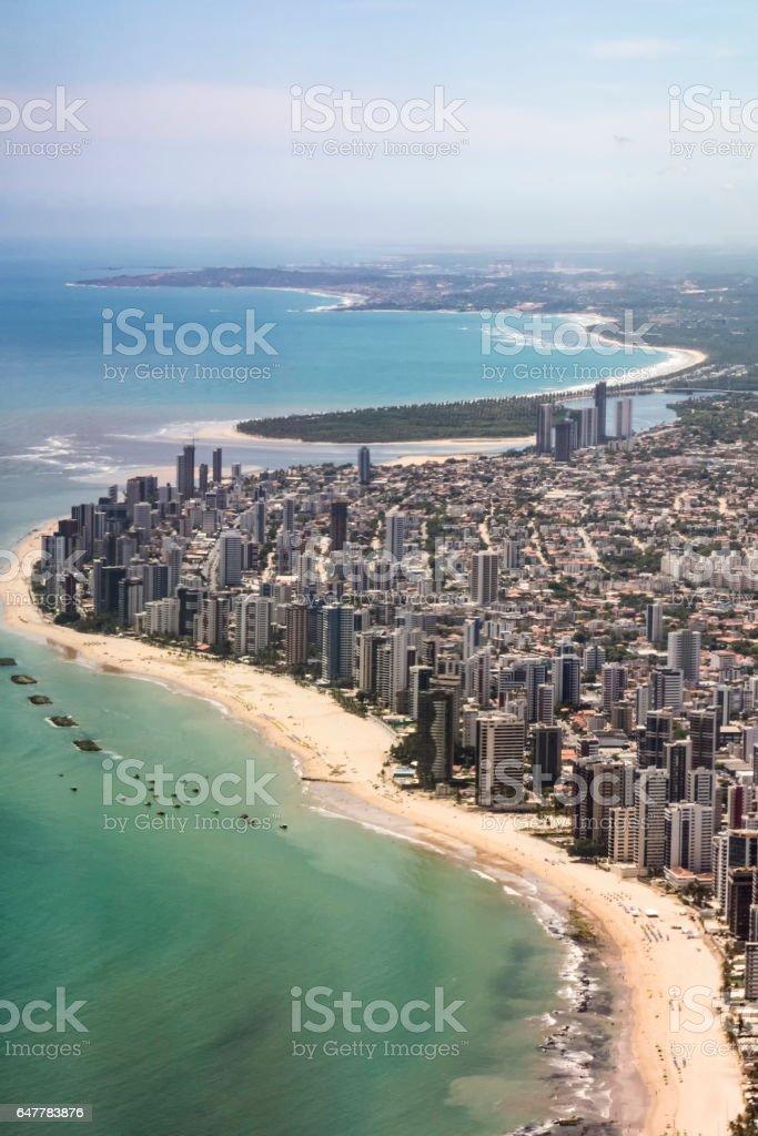 aerial of  Boa Viagem beach in Recife, Brasilia stock photo