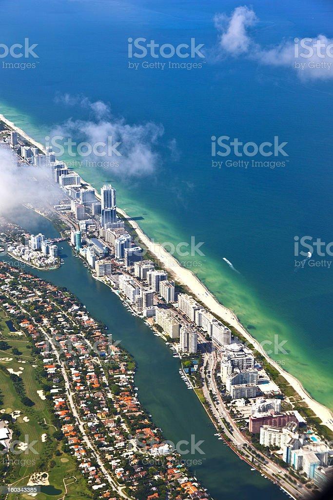 aerial of coastline in Miami, Florida royalty-free stock photo