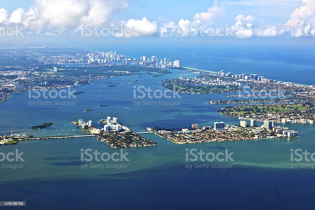 aerial of coastline Miami royalty-free stock photo
