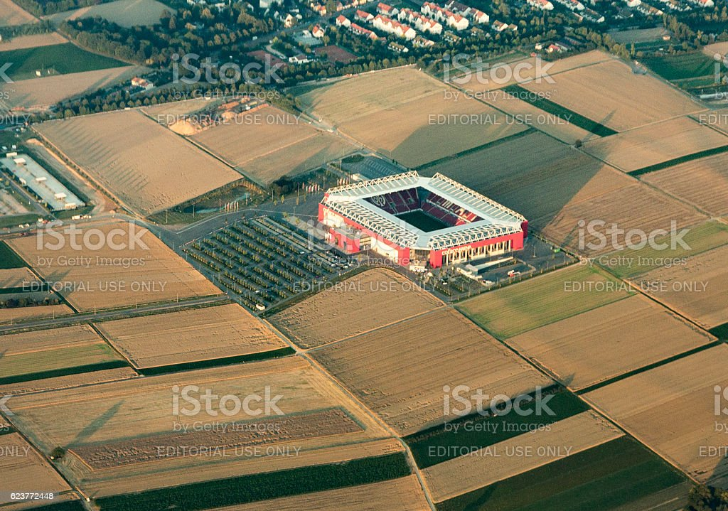 aerial of Coface or Opel  arena in Mayence stock photo