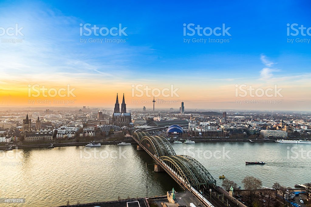 aerial of cologne in sunset stock photo
