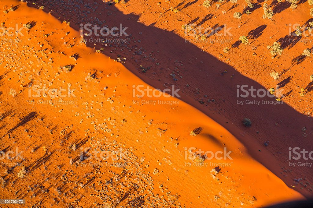 Aerial of desert dunes stock photo