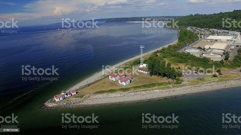Aerial of Discovery Park, Shilshole Bay, Ballard - Seattle, Washington stock photo