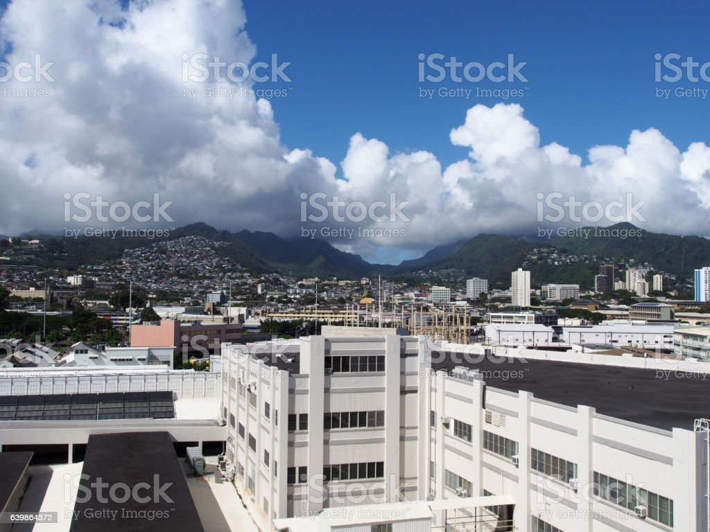 Aerial of Dole Cannery and Nuuanu leading to the Mountains stock photo