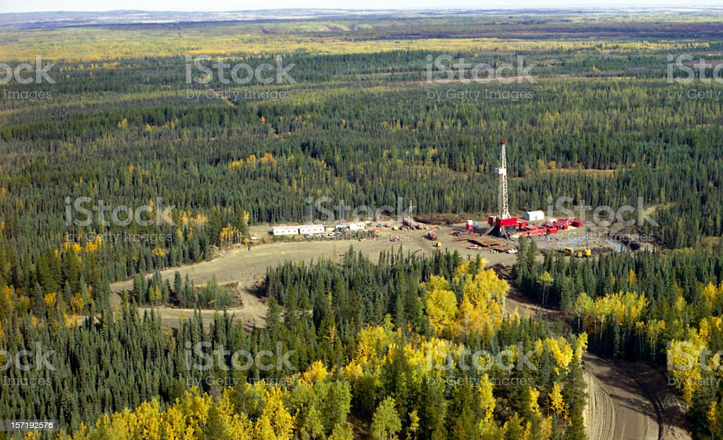 Aerial of Drilling Rig stock photo
