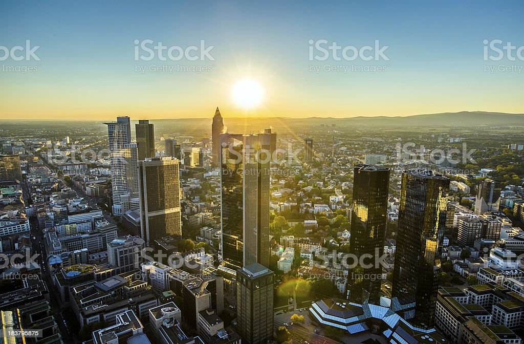aerial of Frankfurt  by night stock photo