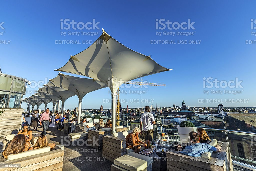 aerial of Frankfurt  in late afternoon from panorama platform stock photo