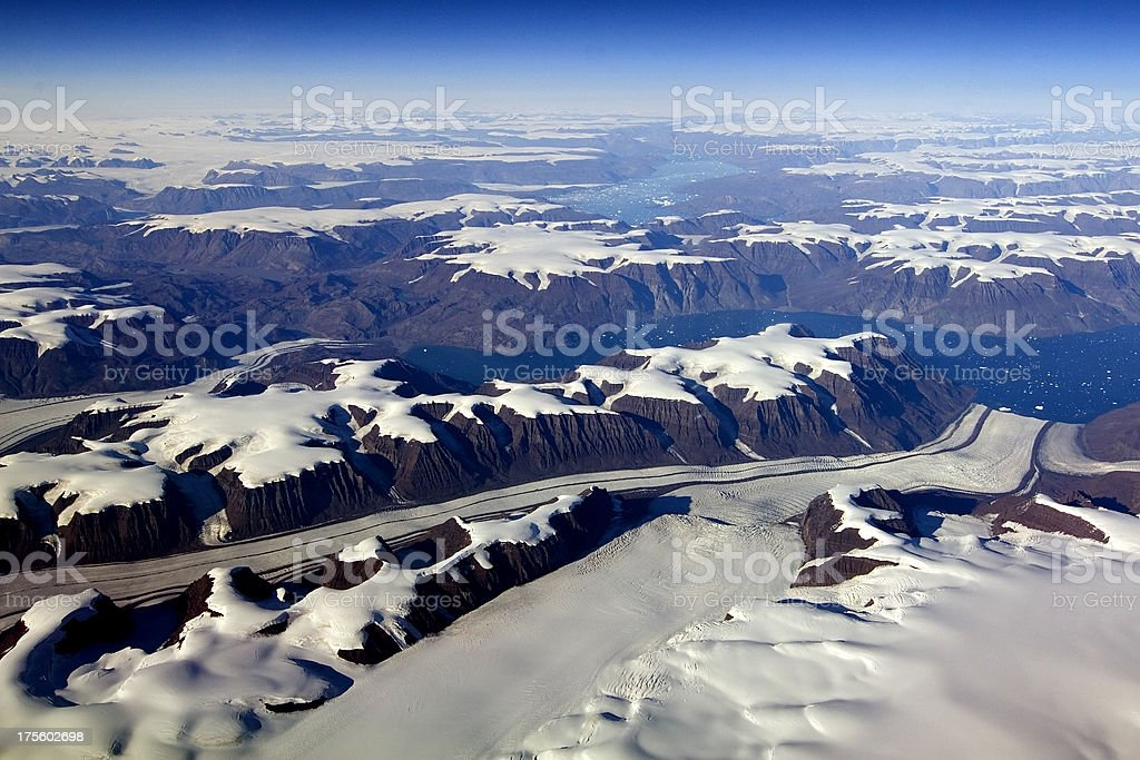Aerial of Greenland glaciers and icebergs royalty-free stock photo