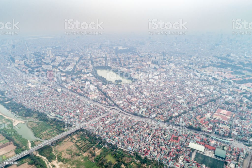 Aerial of Hanoi with Old Town, Hoan Kiem Lake, Vietnam stock photo