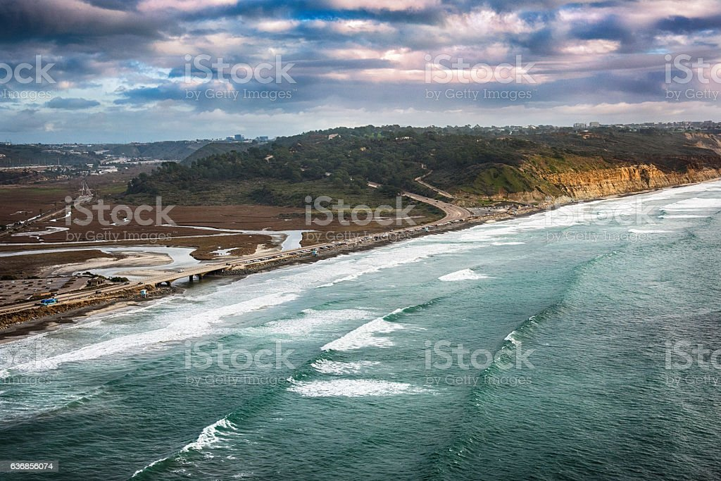 Aerial of Highway 101 Through Northern San Diego County stock photo