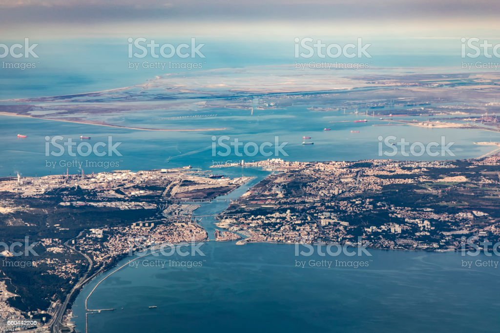 aerial of industrial area of Martigues near Marseilles stock photo