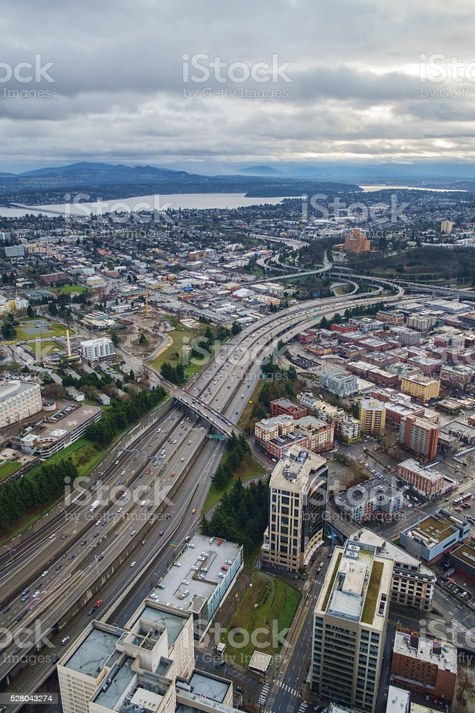 Aerial of Interstate 5 and Interstate 90, Seattle, WA stock photo
